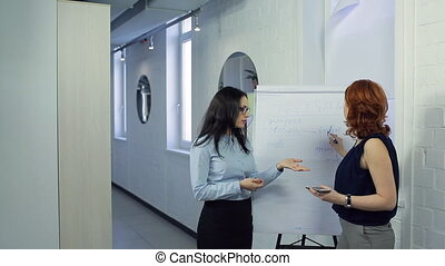 Woman teaches her colleague SMM, SEO in front of board. We...