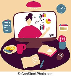 Woman teaching online. Business courses, economic blog, e-learning. Workplace at home in front of computer for freelance work, distance learning. Flat vector illustration