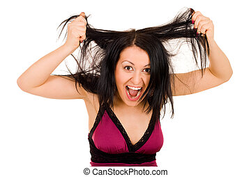 Woman tearing her hairs
