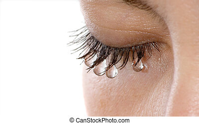 Woman's eye with several teardrops hanging on her eyelashes - isolated