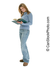 Woman Teen Reading - Beautiful Young Woman Standing With...