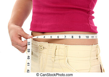 Woman Teen Weight - Close-up of woman holding measuring tape...