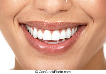 Woman teeth - Beautiful woman smile. Isolated over white...
