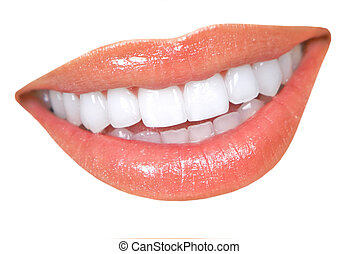 Beautiful young woman smile and teeth. Close up