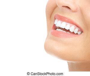 Woman teeth - Beautiful young woman teeth. Isolated over ...