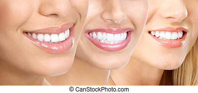 Beautiful young woman teeth.