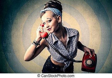 woman telefon