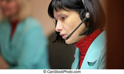 woman telephone operator at work