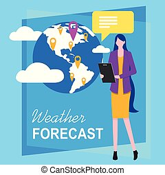Woman Television Reporter Weather Forecasting