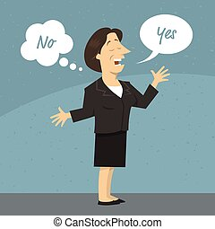 Woman telling lie cartoon