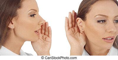 Woman telling, woman listening to gossip