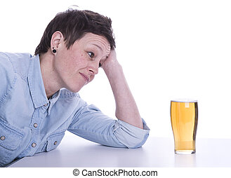 woman tempted by alcohol