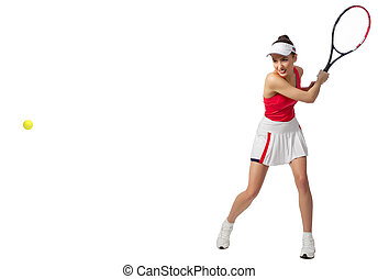 Woman tennis player isolated (ver with ball) - Young woman...