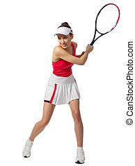 Woman tennis player isolated (ver without ball) - Young...