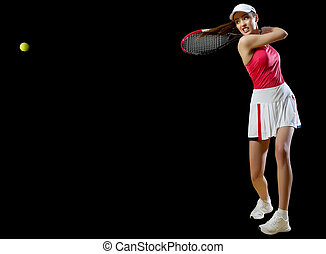 Woman tennis player isolated (with ball ver) - Young woman...