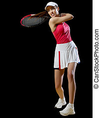 Woman tennis player isolated (without ball ver) - Young...