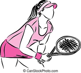 WOMAN TENNIS PLAYER VECTOR ILLUSTRATION