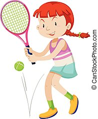 Woman tennis player with racket and ball illustration