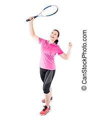 woman tennis player with racket in hand, enjoys his victory in the game on a white background