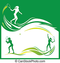 Vector illustration of woman tennis silhouettes
