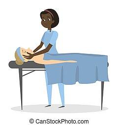 woman., terapia, massaggio