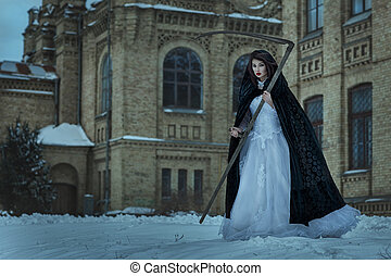 Woman terrible death. - Girl in a wedding dress holding a...