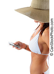 Woman Texting - Beautiful Woman Wearing A White Bikini And...