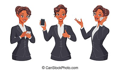 Woman texting, calling, showing thumb up with smartphone. Full size under clipping mask. Set of vector characters.