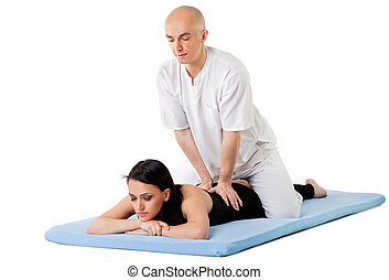 Woman therapist thai massage