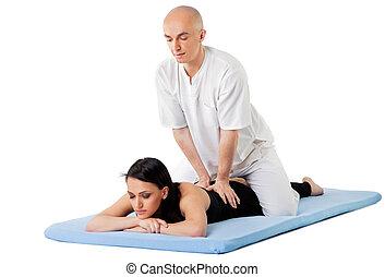 Woman therapist thai massage