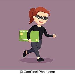 woman thief stealing credit card