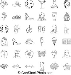 Woman thing icons set, outline style