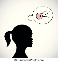 woman think about fertility reproduction of ovum and...