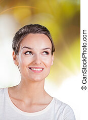Woman thinking about something nice