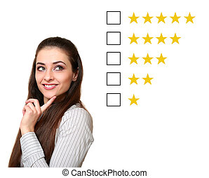 Woman thinking and choosing about feedback rating