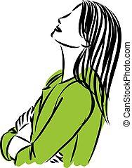 woman thinking concept vector illustration