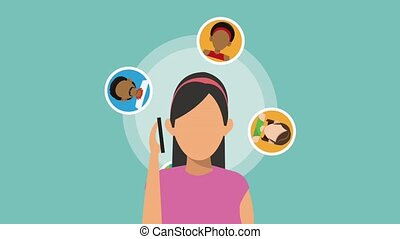 Woman thinking in donut HD animation - Using smartphone for...