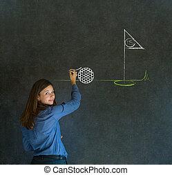 Woman thinking of golf blackboard background