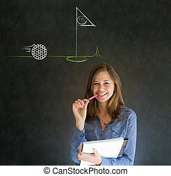Woman thinking of golf blackboard background