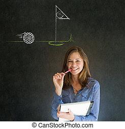 Woman thinking of golf blackboard background - Business...