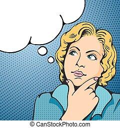 Woman thinking. Pop Art girl. Vector illustration in retro ...