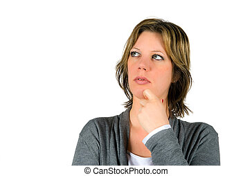 Woman thinking - Woman is thinking very seriously about a...