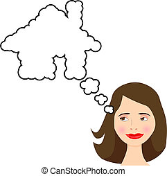 Woman thinks of Dream House in speech bubble