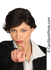 Woman threatening with her finger