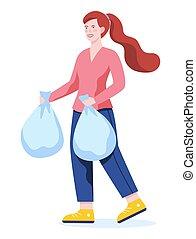 Woman throw bag with garbage in a trash bin