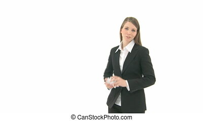 Woman throws scrap of paper into the camera - Woman walks...