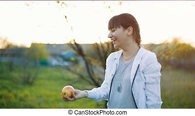 Woman Throws up apple