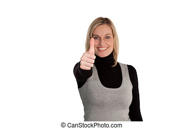 Woman thumbs up to camera