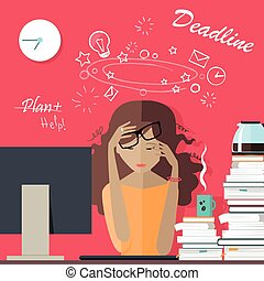 Woman Tired at Work. Deadline. A Lot of Work to Do. - Woman...