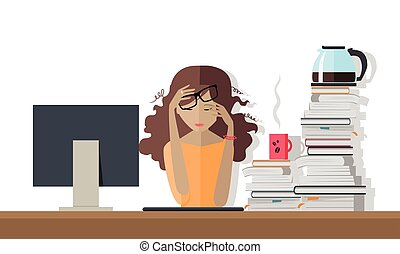 Woman Tired at Work. Deadline. A Lot of Work to Do.